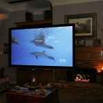 Ceiling mount large screen movie